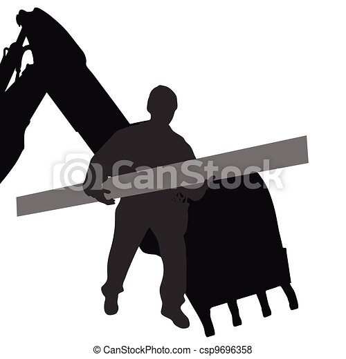 worker carries material by machine - csp9696358