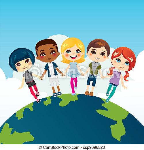 Clipart Vecteur de heureux, enfants, multi-ethnique ...