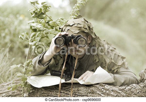 Military Camouflaged man - csp9696600