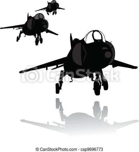 Landing plane silhouette - csp9696773