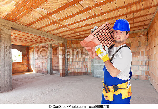 Worker carry brick on construction site - csp9696778