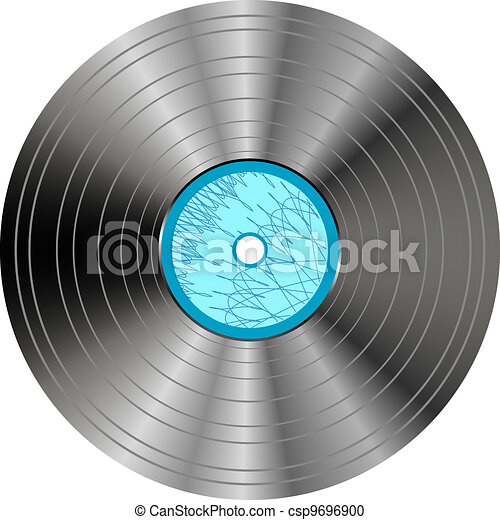 vinyl record with blue label isolated - csp9696900