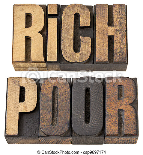 rich and poor words in wood type - csp9697174