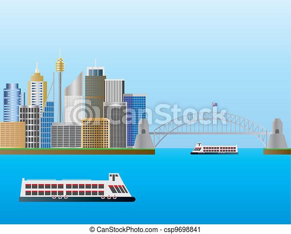 Sydney Australia Skyline Illustration - csp9698841