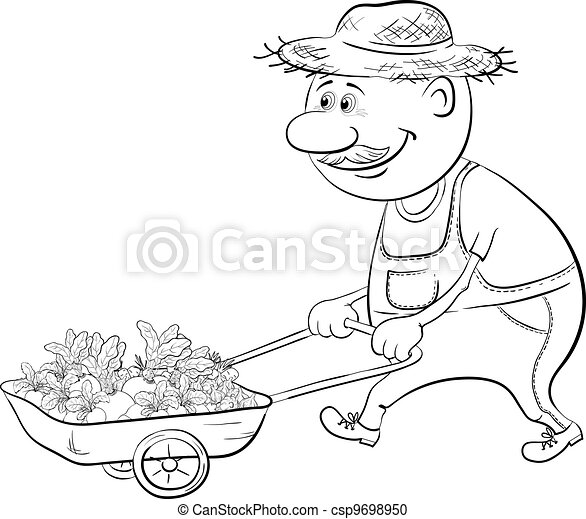 Men driven truck with vegetables, outline - csp9698950