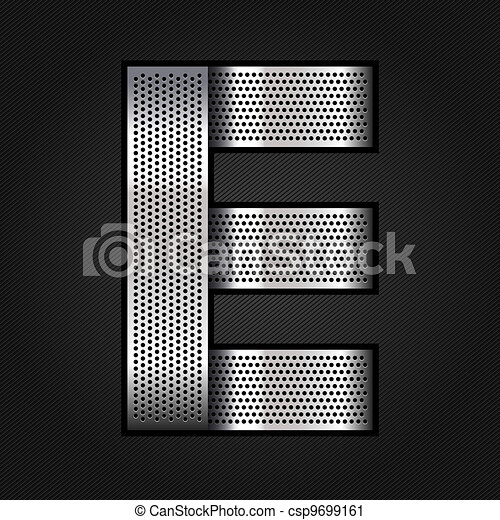 Letter metal chrome ribbon - E - csp9699161