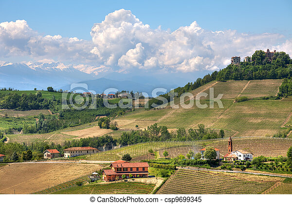 Hills of Piedmont at spring. Northern Italy. - csp9699345