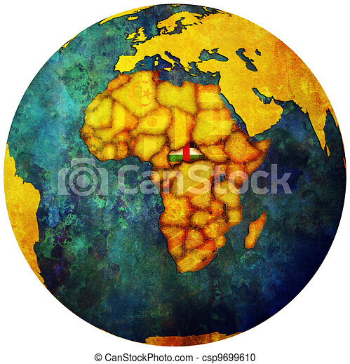 central african republic flag on globe map - csp9699610
