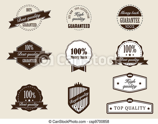 Premium Quality and Guarantee Badges with retro vintage style - csp9700858