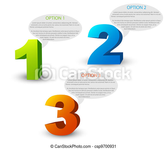 One two three - 3D vector progress icons - csp9700931