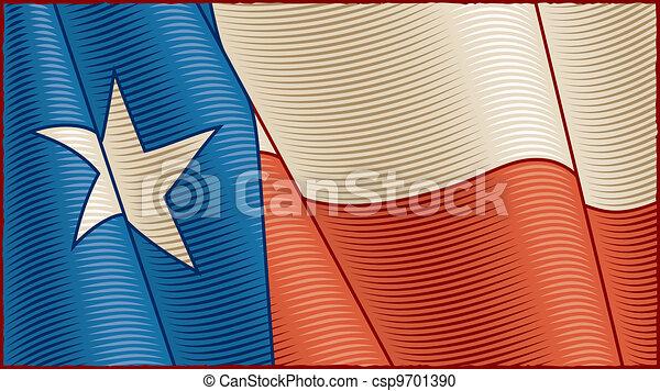 Vintage Texas Flag (close-up) - csp9701390