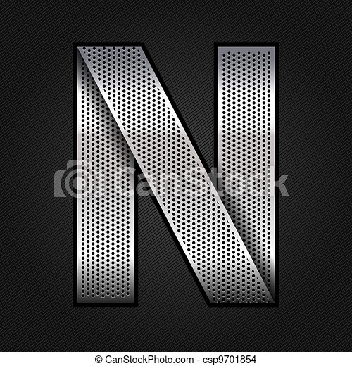 Letter metal chrome ribbon - N - csp9701854