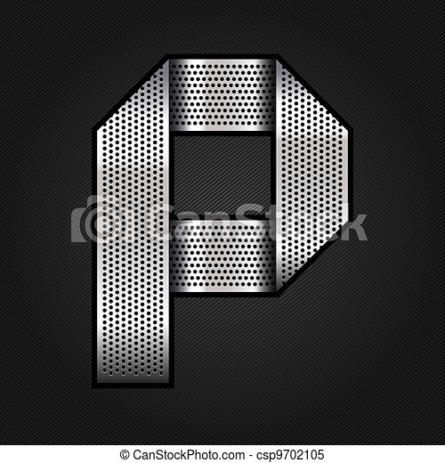 Letter metal chrome ribbon - P - csp9702105