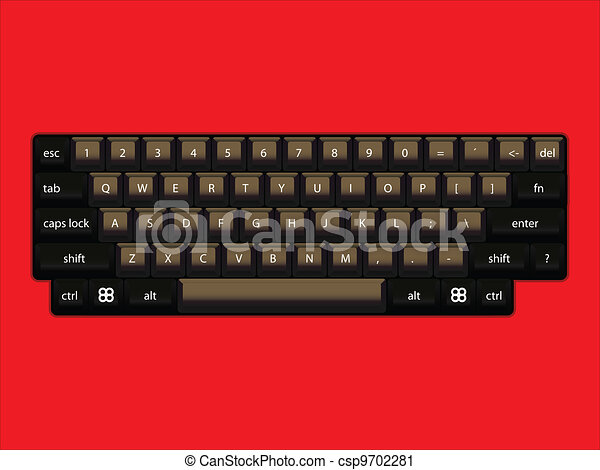 isoated computer keyboard layout - realistic illustration - csp9702281