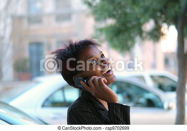 Businesswoman talking on cellphone - csp9702699