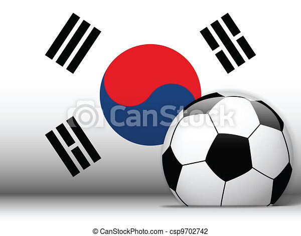 South Korea Soccer Ball with Flag Background - csp9702742