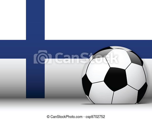 Finland Soccer Ball with Flag Background - csp9702752