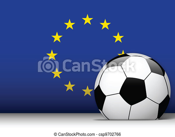 Europe Soccer Ball with Flag Background - csp9702766