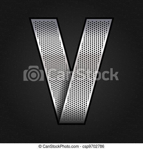 Letter metal chrome ribbon - V - csp9702786