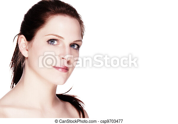 portrait of a beautiful wellbeing woman on white background - csp9703477