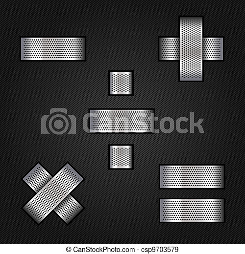 Letter metal chrome ribbon - Mathematical signs - csp9703579