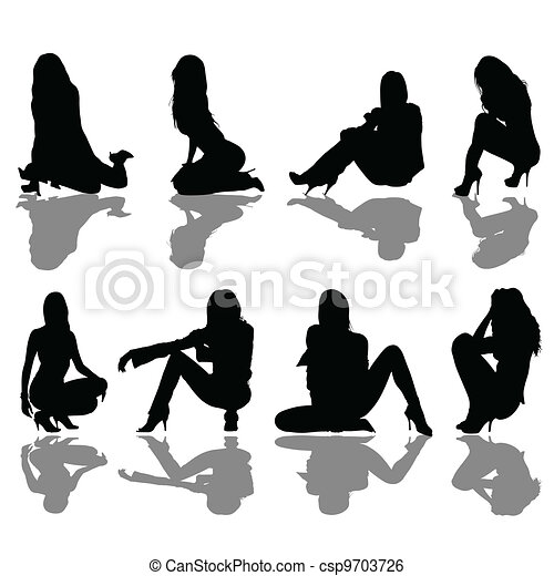 girl seated silhouette - csp9703726