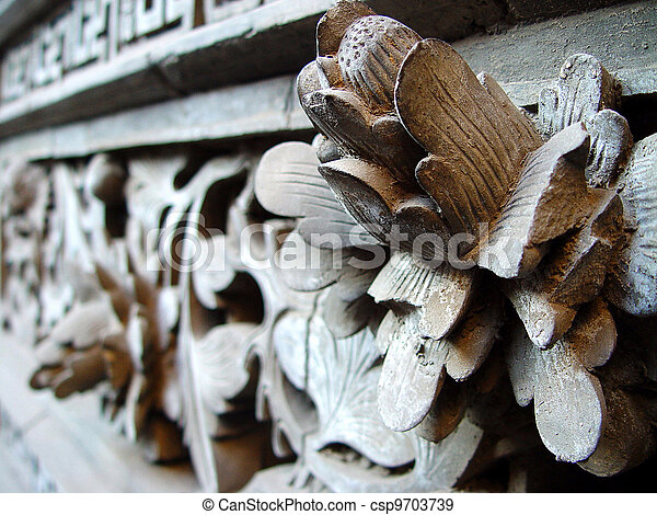Ancient wood carving art of lotus - csp9703739