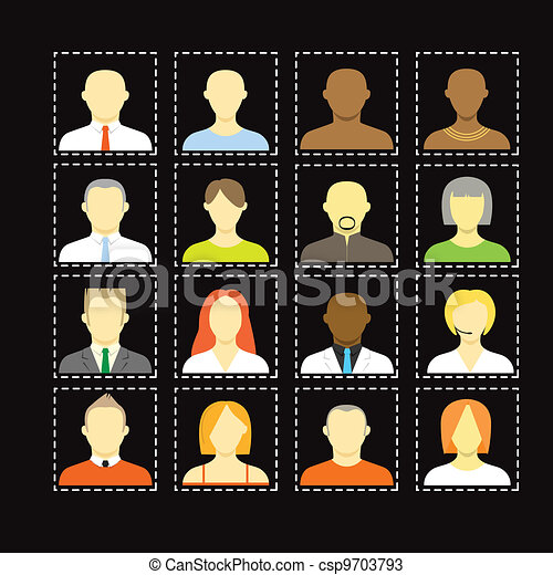 Collection of an account icons of men and women. Different nationalities - csp9703793