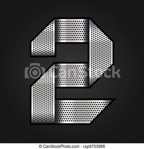 Number metal chrome ribbon - 2 - two - csp9703988