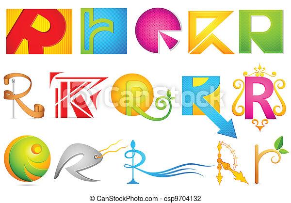Different Icon with alphabet R - csp9704132