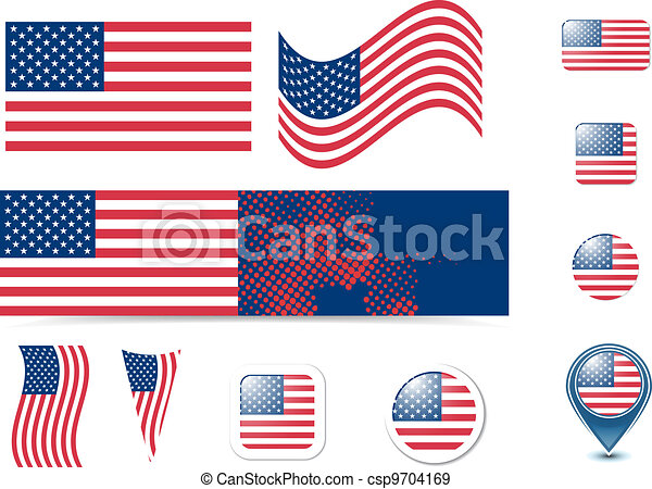 United States of America flag and buttons - csp9704169