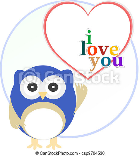 Cute owl with love heart - csp9704530