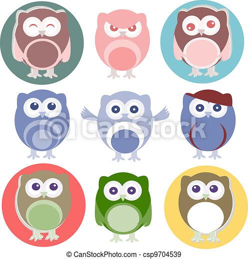 Set of cartoon owls with various emotions - csp9704539