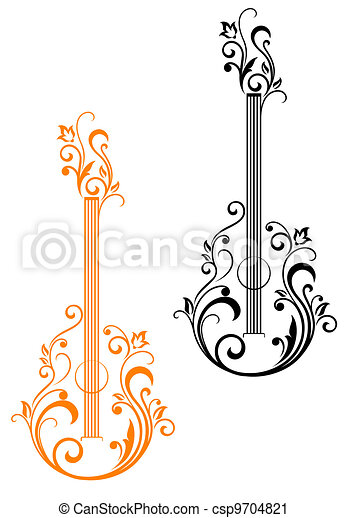 Guitar with floral embellishments - csp9704821