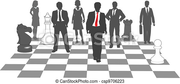 Business people chess team win game - csp9706223
