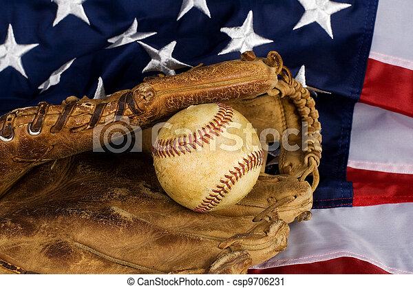 baseball and American Flag - csp9706231