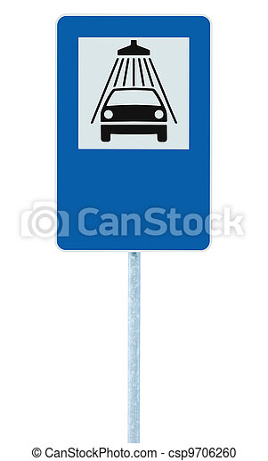 Car wash road sign on post pole, traffic roadsign, blue isolated vehicle shower washing service roadside signage plus blank empty copy space - csp9706260