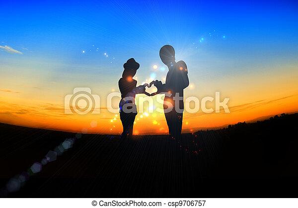 romantic Scene of love, valentine's day - csp9706757
