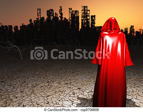 Traveler before the destroyed city - csp9706808