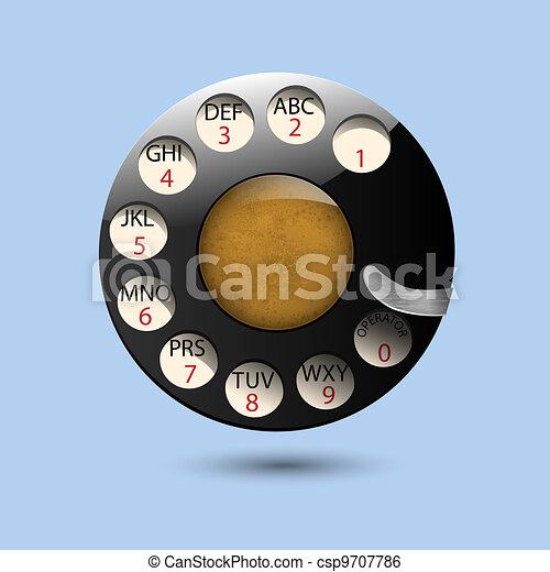 Disc dials of old retro phone - csp9707786