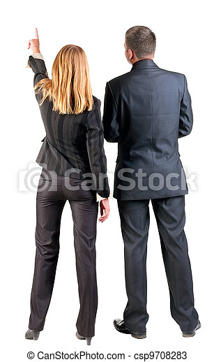Back view of  pointing business team.  - csp9708283