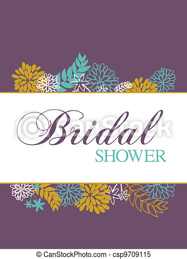 Clipart Vector of Bridal Shower Card - Bridal shower card with ...