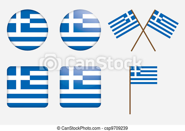badges with flag of Greece - csp9709239