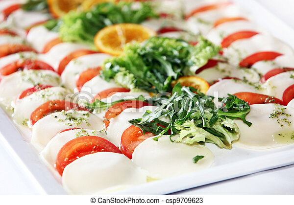 Catering platter with tomato and cheese - csp9709623