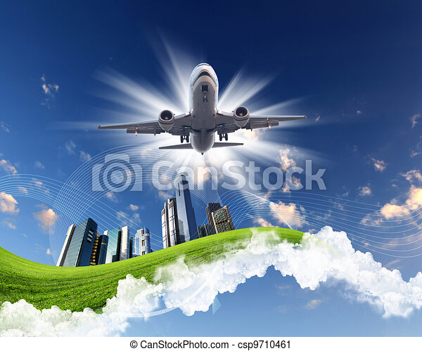 Plane on blue sky background - csp9710461