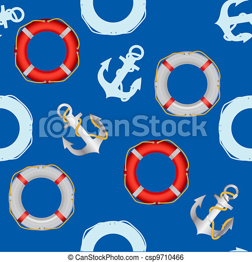 Anchor stencil  and lifebuoy seamless pattern. maritime theme - csp9710466