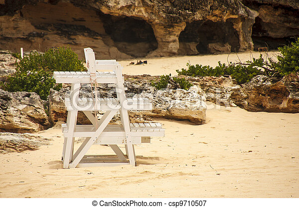 Stock photo old wood lifeguard chair on beach stock image images
