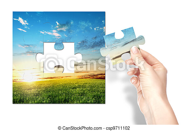 Puzzle of nature landscape with clouds - csp9711102