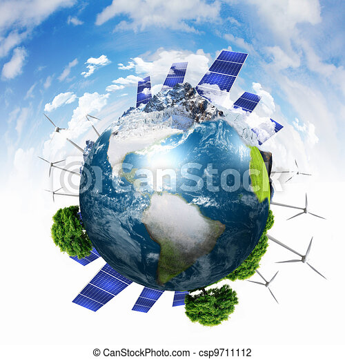 Planet earth with solar energy batteries - csp9711112