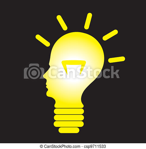 Human head as bulb, concept of problem solving - csp9711533